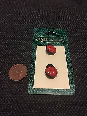 Cute red ladybird buttons x2 BNWT - craft/dressmaking