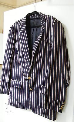 "Vintage 1960s Striped Blazer Navy, Cream & RedGold Buttons. Boating. 38"" chest"