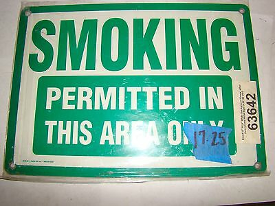 1pc. Emed SP22160 Metal Safety Sign (Smoking Permitted In This Are Only), Used