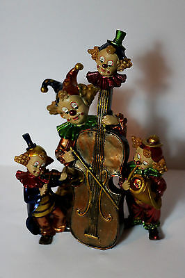 3 Metallic Gold Music Instrument Clown Figurines Lot violanchelo violin tuba