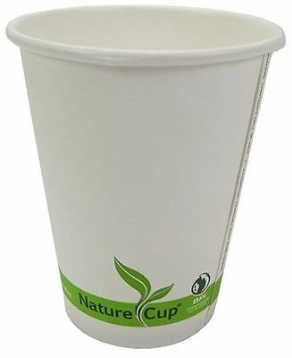 NatureCup Compostable Paper Single Wall 12oz Hot Coffee Drink Cups, Case of 1000