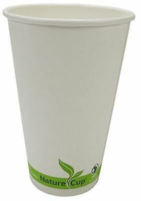 NatureCup Compostable Paper Single Wall 16oz Hot Coffee Drink Cups, Case of 1000