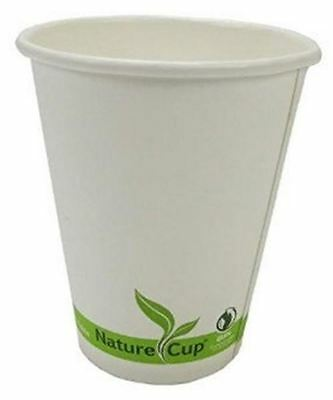 NatureCup Compostable Paper Double Wall 8oz Hot Coffee Drink Cups, Case of 800