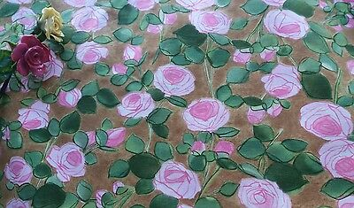 A Piece of Vintage Reclaimed 50's/60's Cotton Pink Rose Cotton Fabric Patchwork
