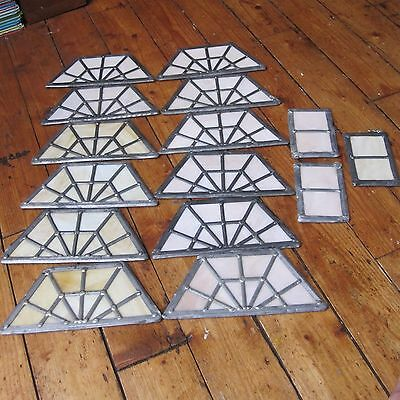 Stained Glass Trapezoid Panels Small Vintage Leaded Panels Art Deco Pink Peach