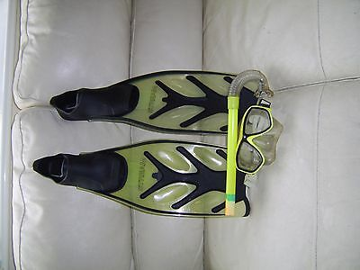 A pair of flippers with snorkel and mask