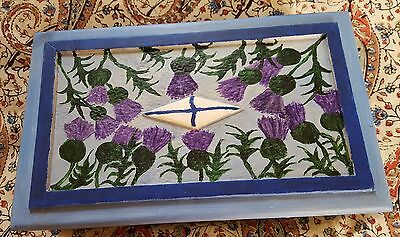 Upcycled hand painted, vintage pine trinket /cigar box, Scots thistles, Saltire.