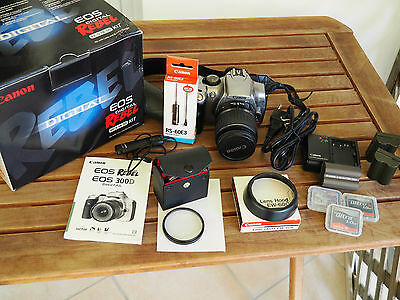 Canon EOS 300D / Digital Rebel DSLR kit EF-S 18-55mm with many extras