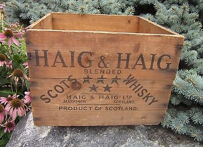 Vintage Haig and Haig Scotch Whiskey Bottle Wood Wooden Crate Scotland