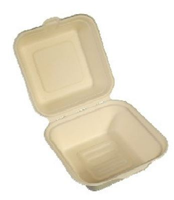 """NatureFibre Compostable Clamshell Take Out Container 6"""" x 6"""" x 3"""", Case of 500"""