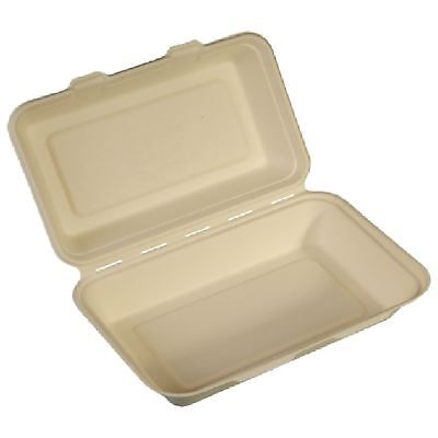 """NatureFibre Compostable Sugarcane Clamshell Take Out Container 9"""" x 5"""" x 3"""", Cas"""