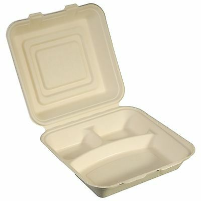 NatureFibre Compostable Sugarcane Clamshell Take Out Container, 3 Compartment 8.