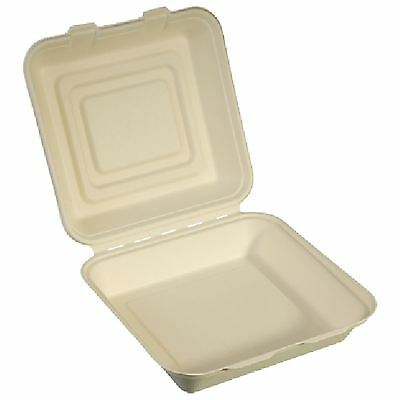"""NatureFibre Compostable Sugarcane Clamshell Take Out Container, 8.5"""" x 8"""" x 3"""","""