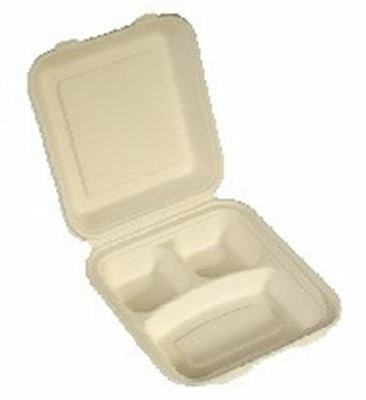 NatureFibre Compostable Sugarcane Clamshell Take Out Container, 3 Compartment 10