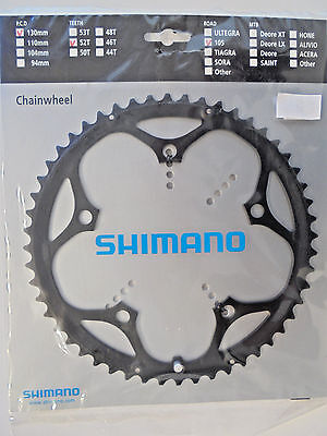 Shimano 105 road chain ring, 52T, 130mm PCD Black - New