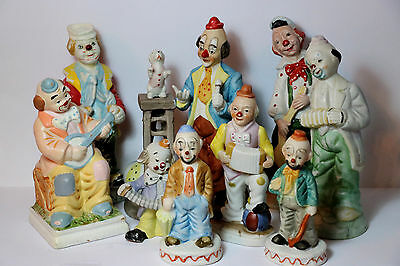 9 Vintage Hobo Circus Clown Figurines Big Lot Ceramic Bisque Porcelain Set