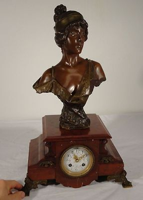 Antique French Bronze Emmanuel Villanis Red Marble Mantle Clock MOugin