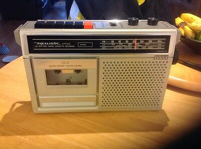 realistic ac/battery Radio cassette Record model CTR-350