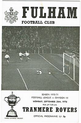 Fulham v Tranmere Rovers Division III 1970/71