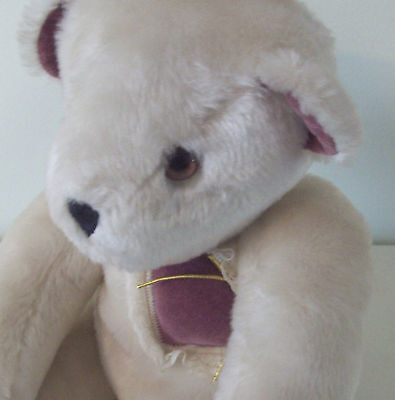 """Vintage Vermont Teddy Bear from 1984 10"""" Plush White with Heart Rare HTF"""