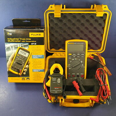 New Fluke 87V Industrial TRMS Multimeter with temperature, Hard Case, Clamp! Box