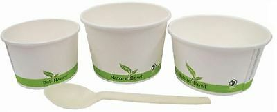 NatureBowl Compostable Paper Hot/Cold Food Container Bowls 8oz, Case of 500