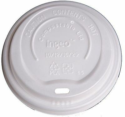 Eco-Packaging Compostable White Dome Lids for 10 - 20oz - Case of 1000