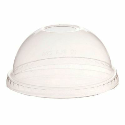 NatureTainer Compostable Clear Dome Lids w/ Straw Hole for 12-20oz, Case of 1000
