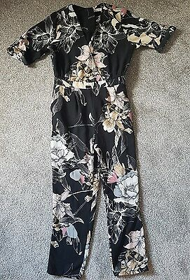 Girls River Island Black Floral Jumpsuit Age 9 Years VGC