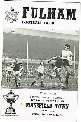Fulham v Mansfield Town Division III 1970/71