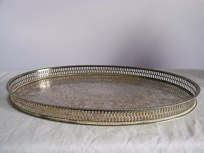 Vintage 15.5 Inch Viners Chased Silver Plated Gallery Drinks Tray - Alpha Plate
