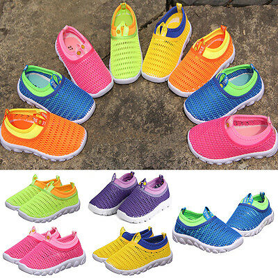 Kids Boys Girls Casual Summer Mesh Breathable Slip-On Trainers Flat Shoes Size