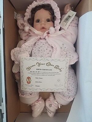 Nib Nrfb Rare Adora Name Your Own Baby Doll W/  Birth Cert Brown Hair Blue Eyes