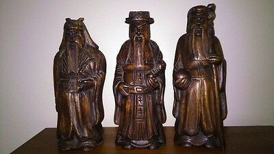 Three Vintage Hand Carved Wooden Oriental Statues 31Cm Tall