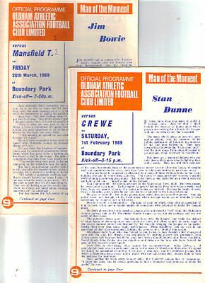 1968/9 Oldham Athletic v Crewe Alexandra + Mansfield Town