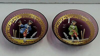 Pair Antique Venetian Amethyst Glass Hand Painted & Enameled Master Salt/Saucer