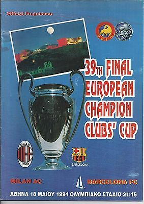 1994 Champions League Final AC Milan v Barcelona Very Good Condition