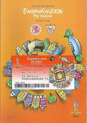 2006 UEFA Cup Final Middlesborough v Sevilla Programme + Ticket