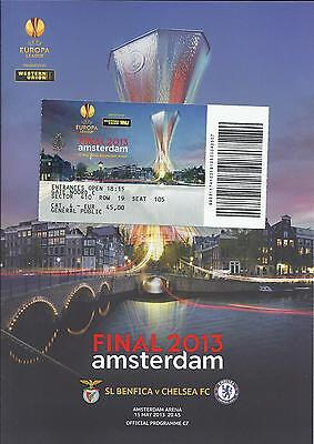 2013 Europa League Final Chelsea v Benfica UEFA Cup Programme + Ticket (1 of 2)
