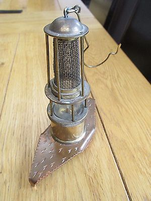 Vintage Miniature Miner's Lamp - Brass, Copper, Wire and Glass - Fantastic Item
