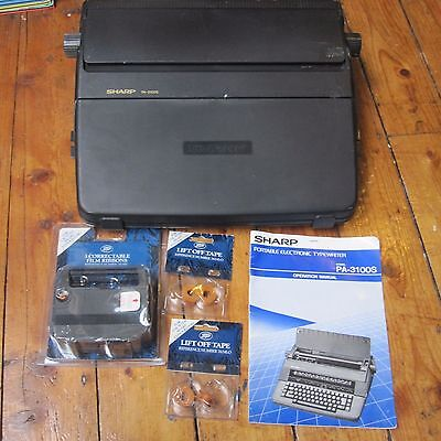 Sharp PA-3100S Electric Electronic Typewriter Word Processor Tested Manual etc