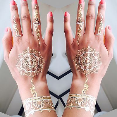 Mandala Henna Tattoos in Gold & Silver - Perfect festival or party accessory