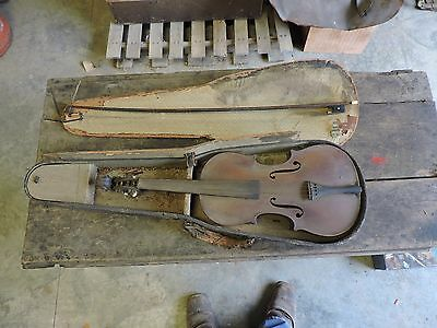 Antique Violin/Fiddle/Viola with Bow in Case, Estate Find