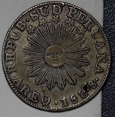 P0122 Peru 1838 2 Reales silver AREQ south peru HOLED combine shipping