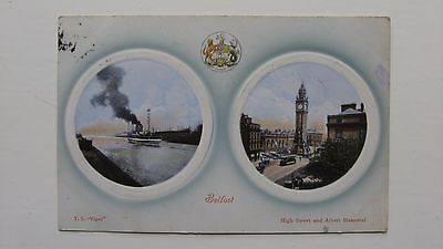 Old postcard BELFAST T S Viper & High Street and Albert Memorial W R & S 1909