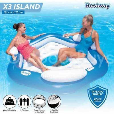 Bestway Inflatable Pool Lounge X3 Island | Swimming Pool Lounger Raft