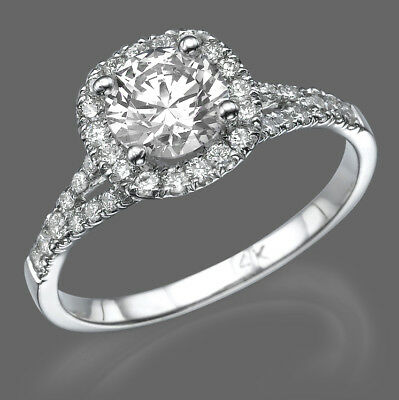 1.50 Round Cut Diamond Solitaire Engagement Ring Enhanced Si1 D 14k White Gold