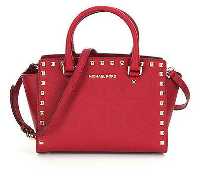 MICHAEL KORS Selma Stud Leather Top Zip Medium Satchel Bag Purse Cherry Red New