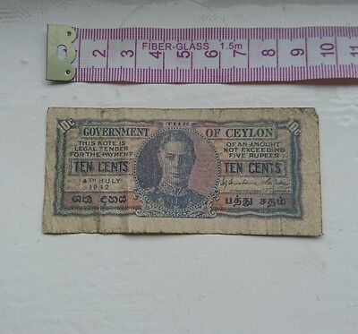 1942 Government of Ceylon 10c cents world banknote