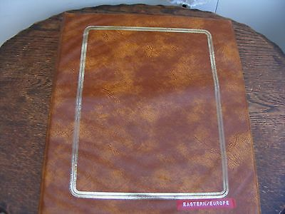 Brown 4 Ring Stamp Album  With Over 1800 Eastern Europe Used Hinged Stamps